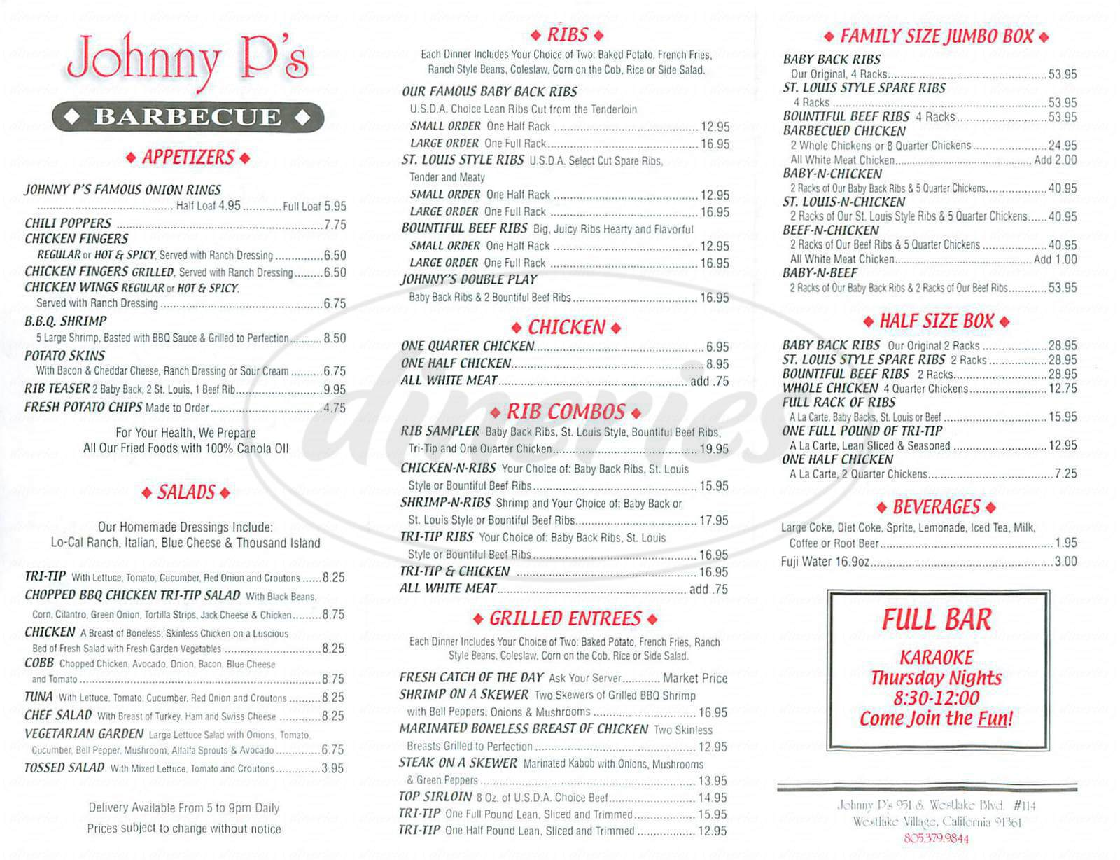 menu for Johnny P's Barbecue