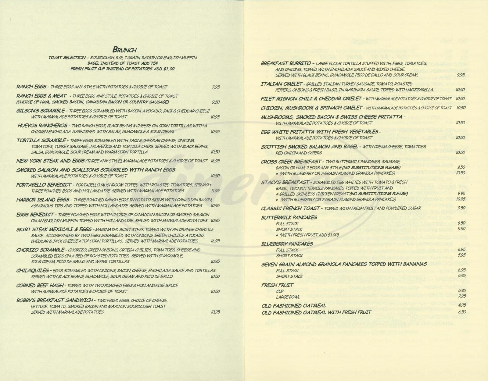 menu for Marmalade Café
