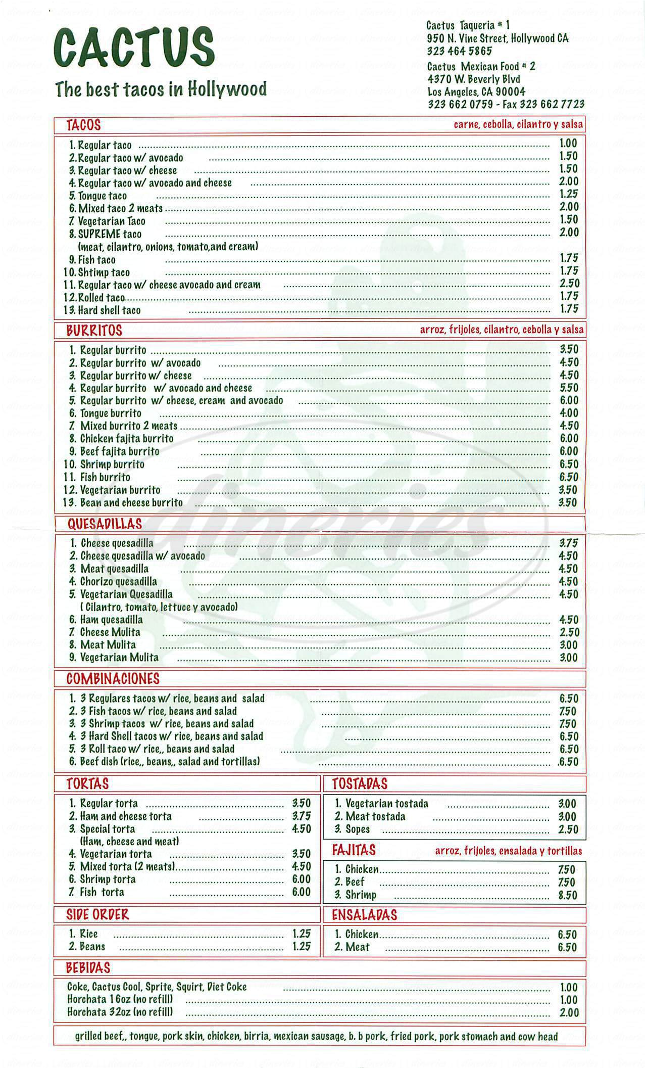 menu for Cactus Mexican Food