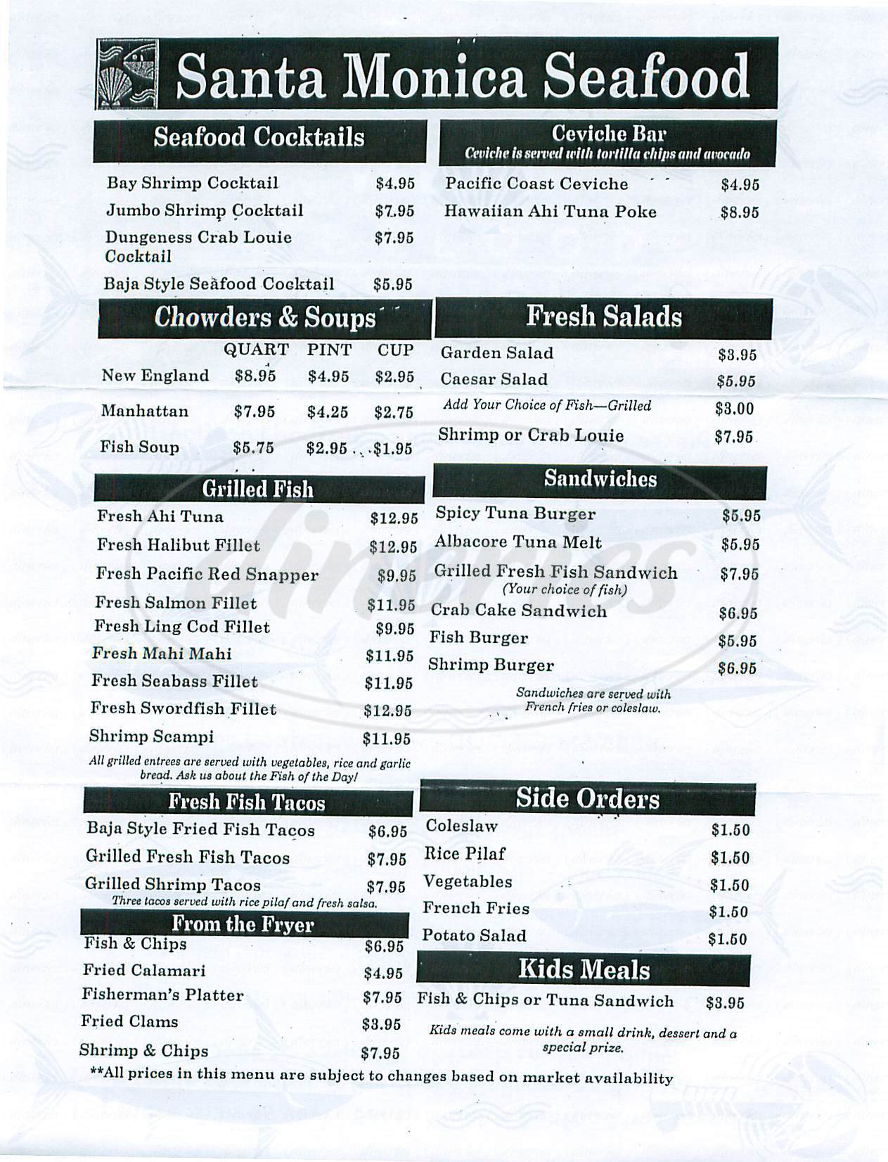 menu for Santa Monica Seafood