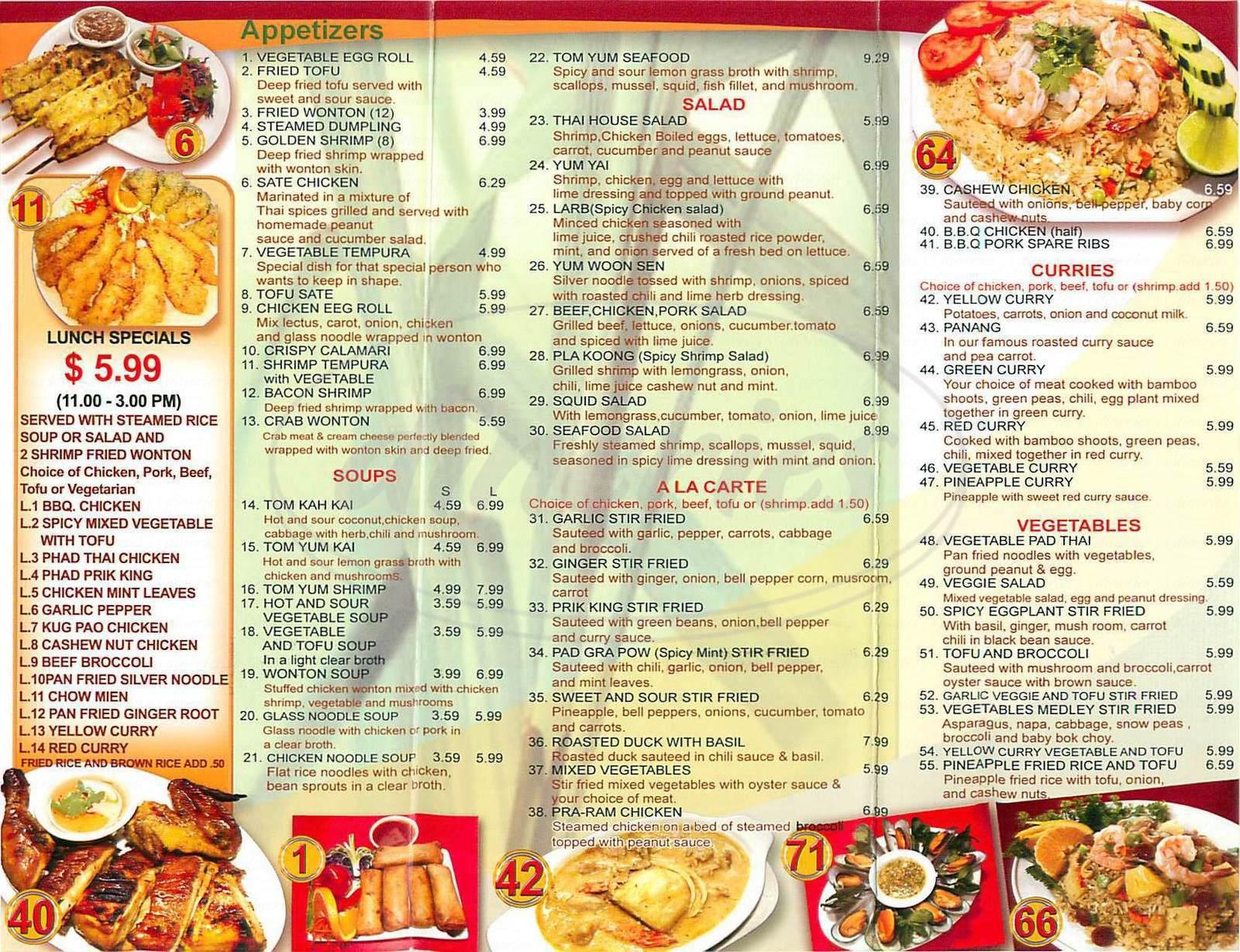 menu for Lemongrass Thai