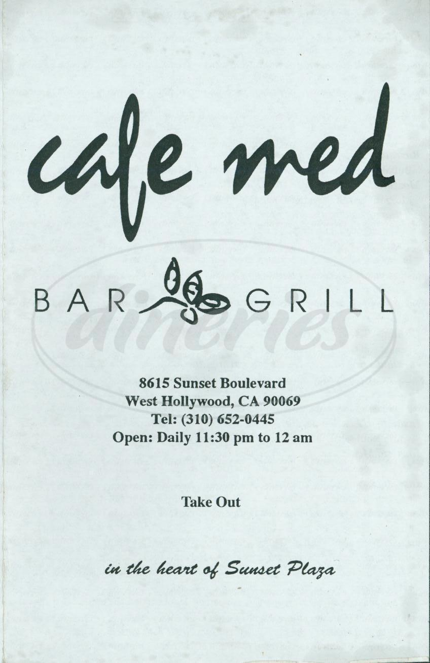 menu for Café Med