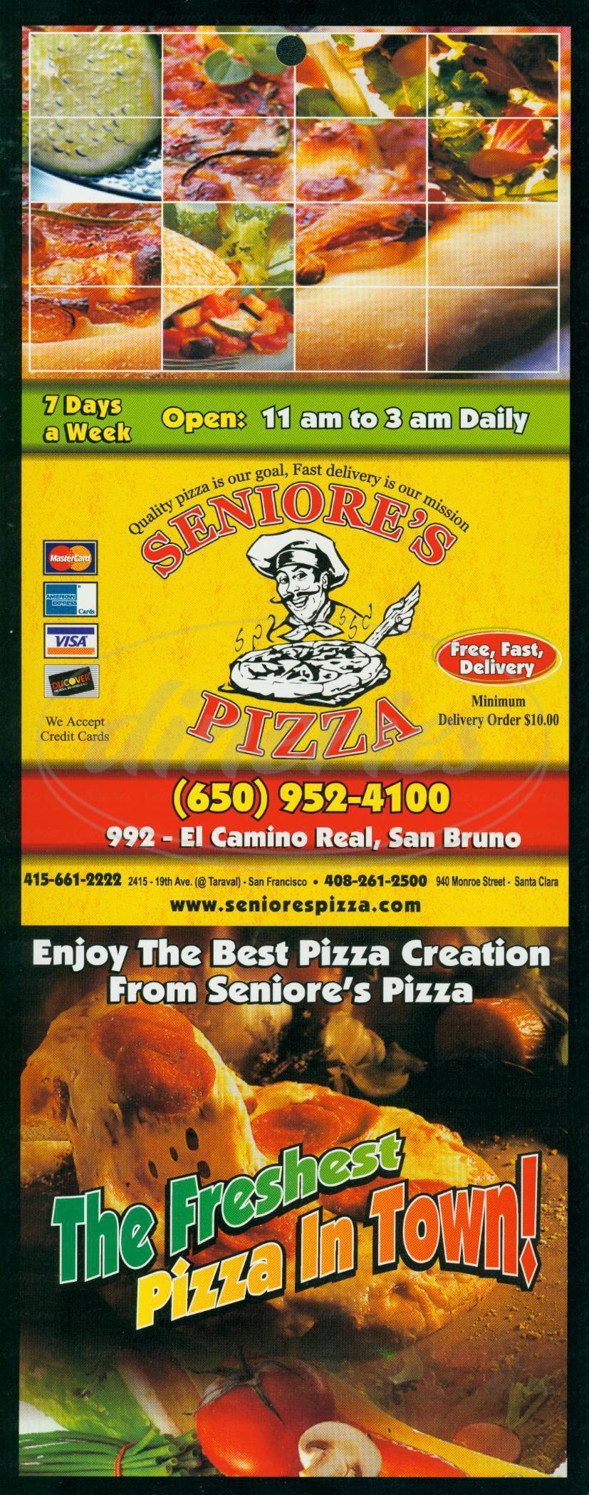 menu for Seniores Pizza