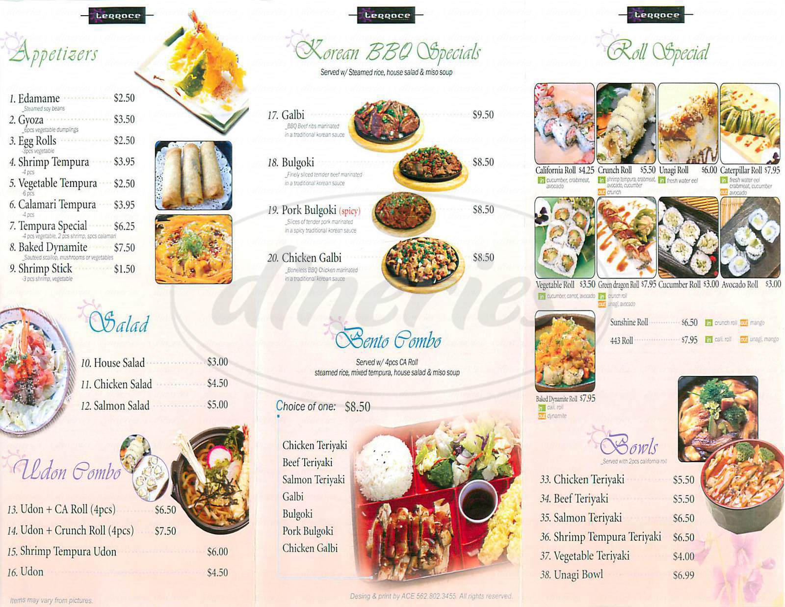 menu for Terrace Restaurant