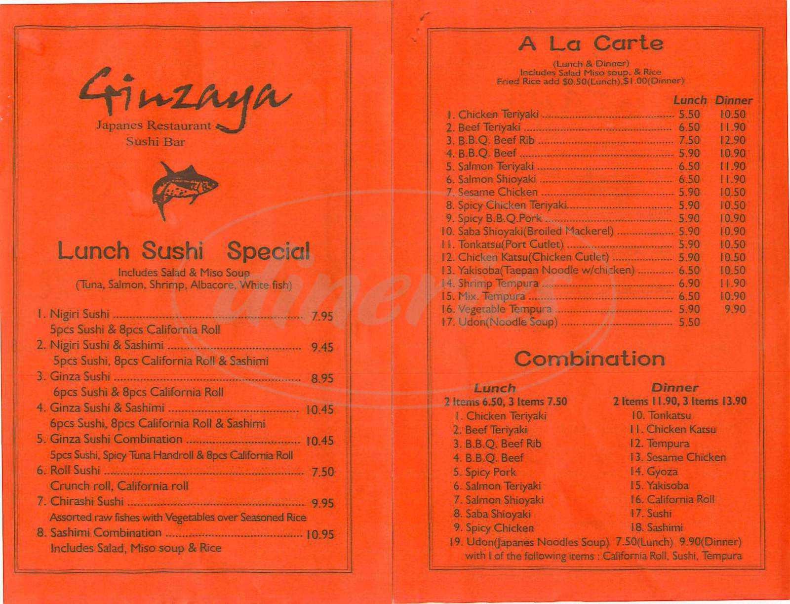menu for Ginzaya