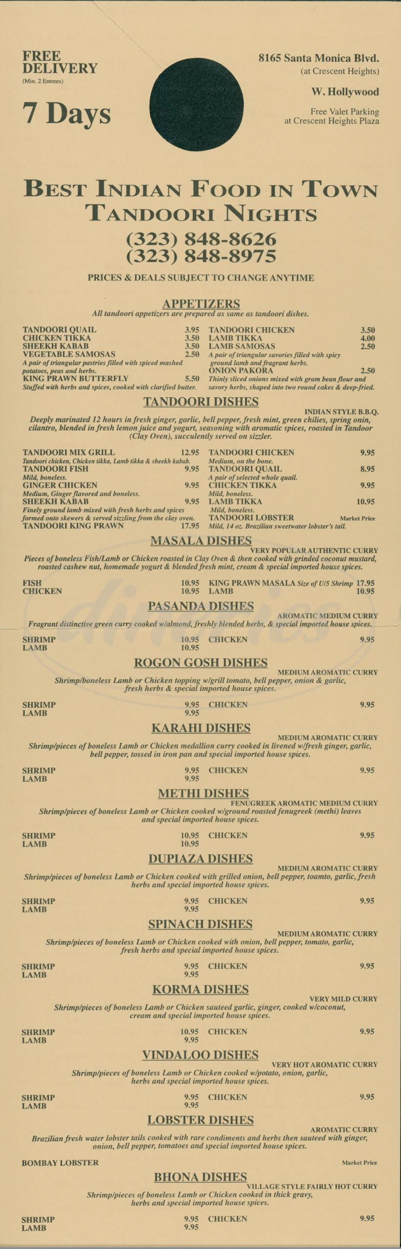 menu for Tandoori Nights