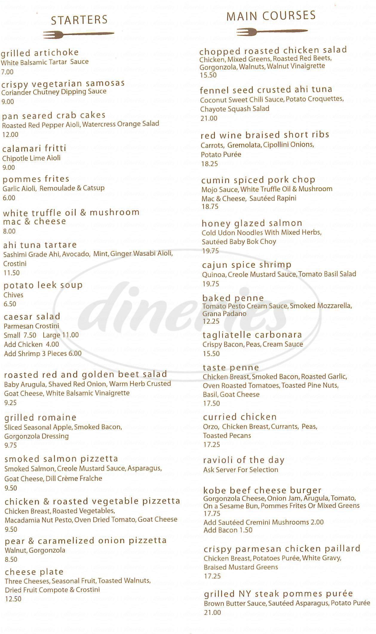menu for Taste
