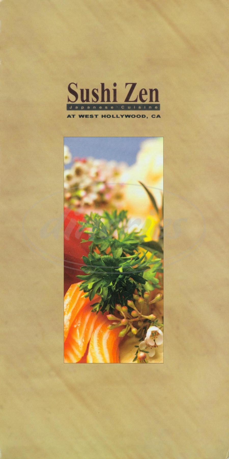 menu for Sushi Zen