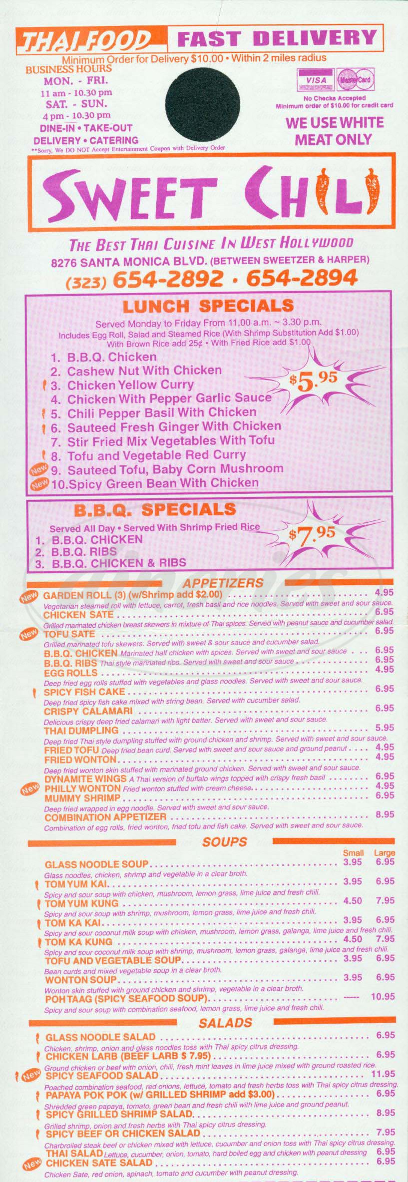 menu for Sweet Chili