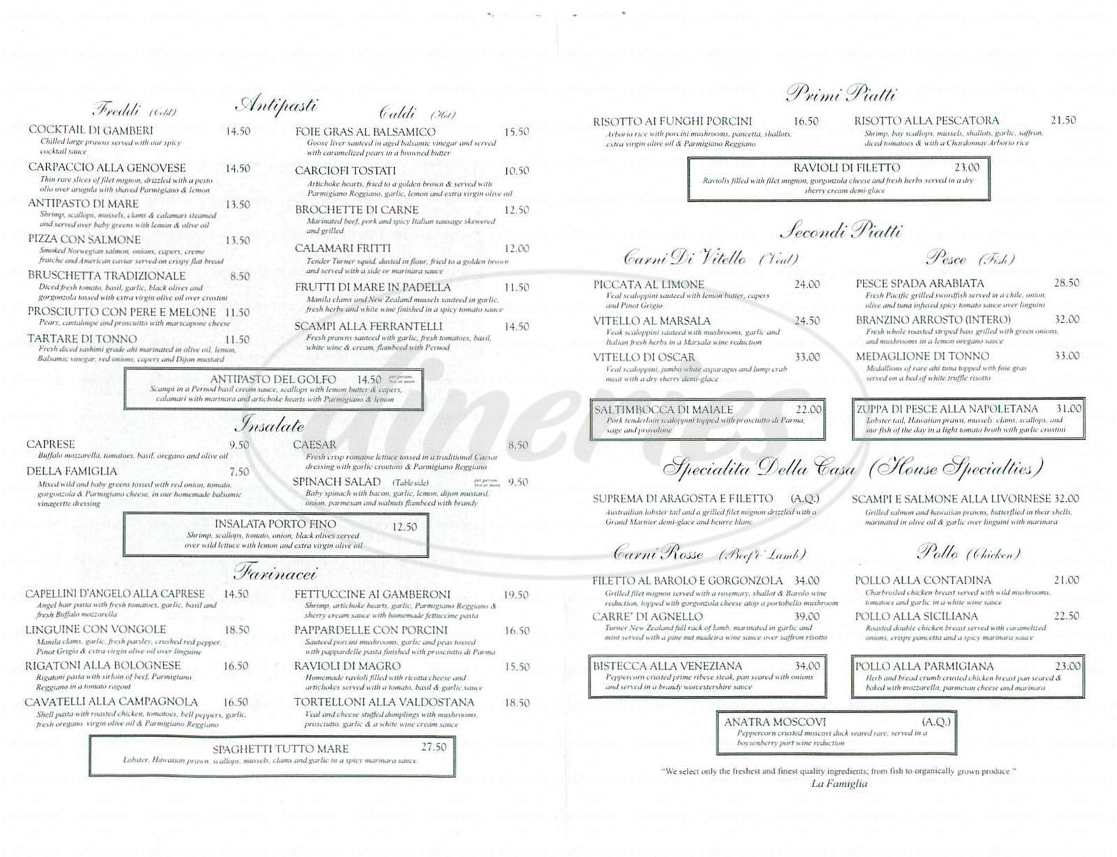 menu for Ristorante Ferrantelli