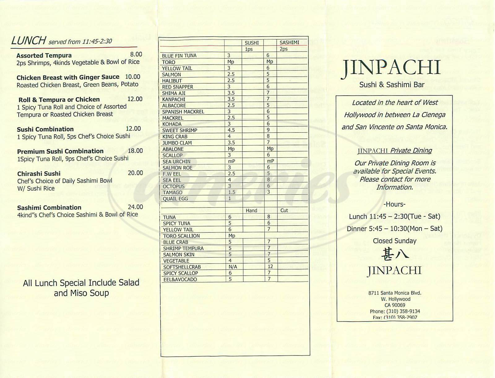 menu for Jinpachi