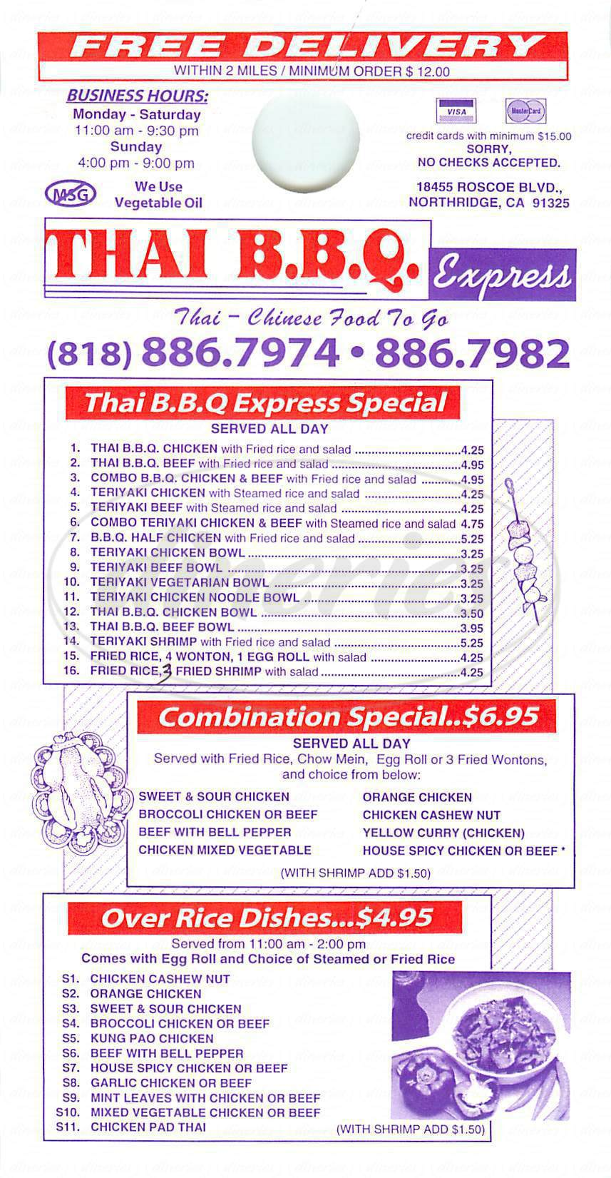 menu for Thai Bbq Express