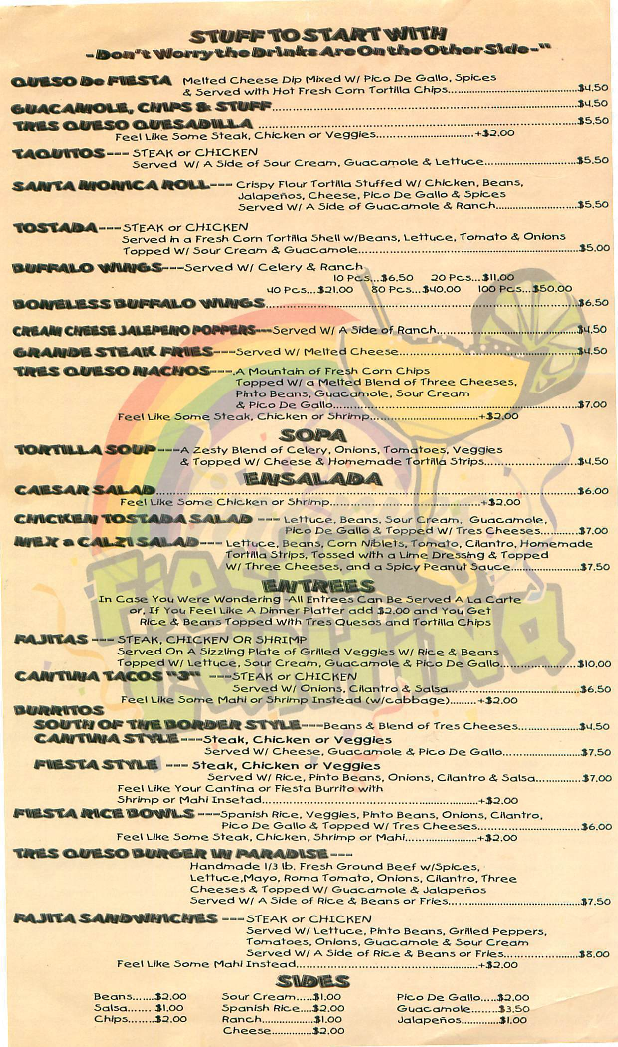menu for Fiesta Cantina