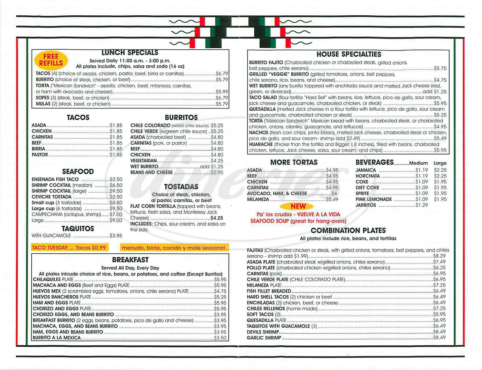 menu for El Chile Taqueria