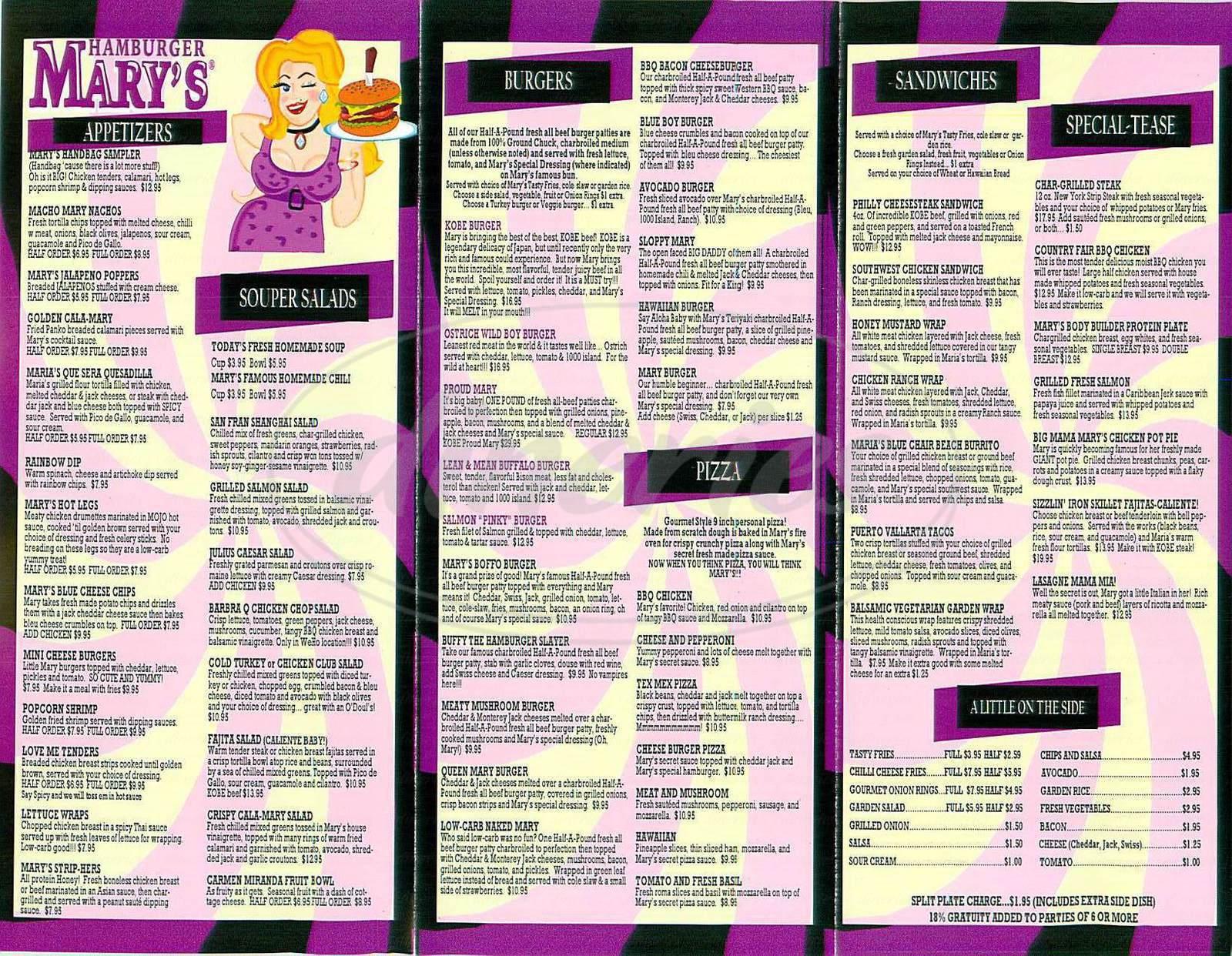menu for Hamburger Mary's