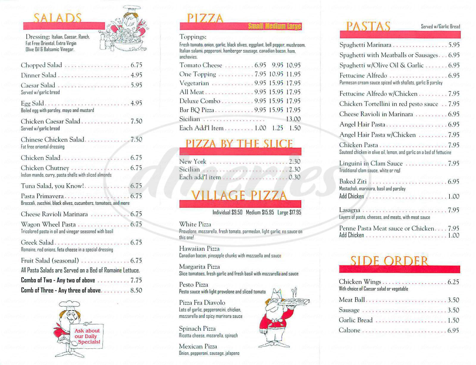 menu for Greenwich Village Pizzeria