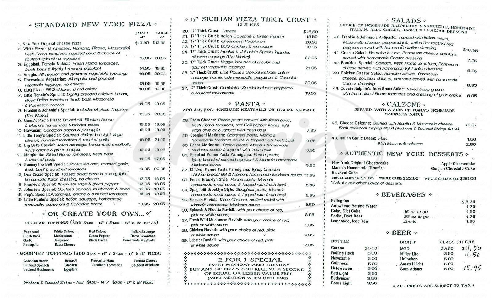 menu for Frankie & Johnnie's New York Pizza