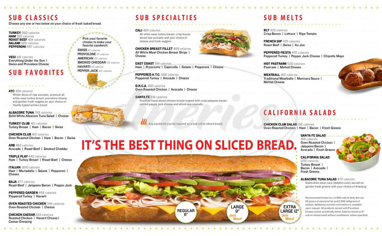menu for Submarina Calofornia Subs