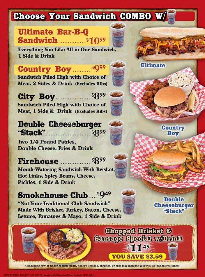 menu for Swadley's BBQ