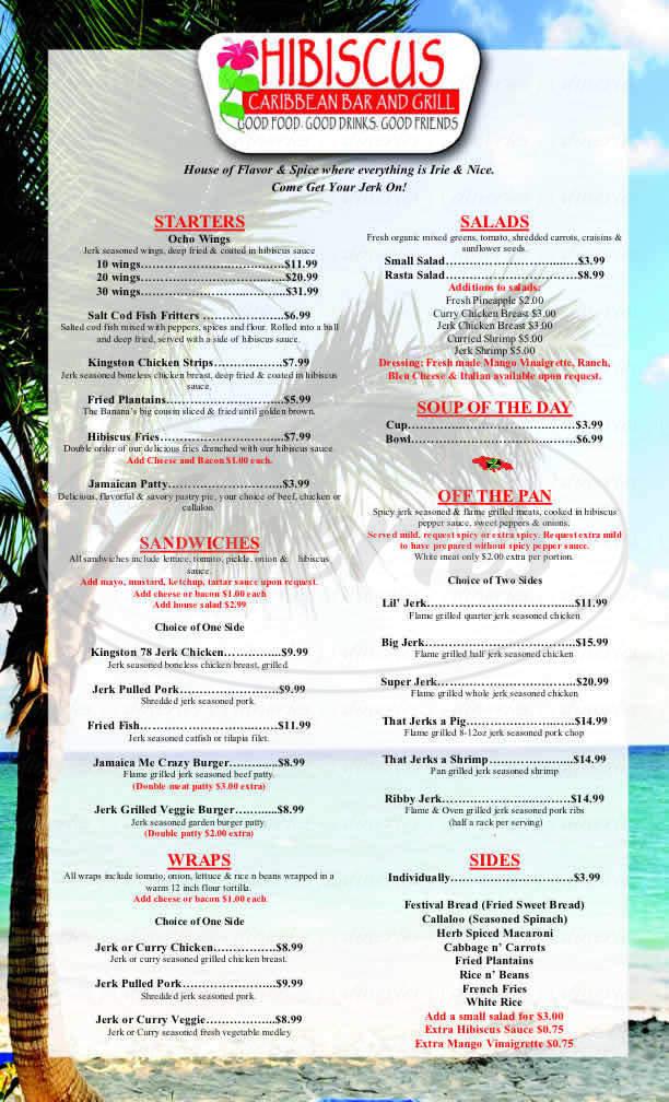 menu for Hibiscus Caribbean Bar & Grill