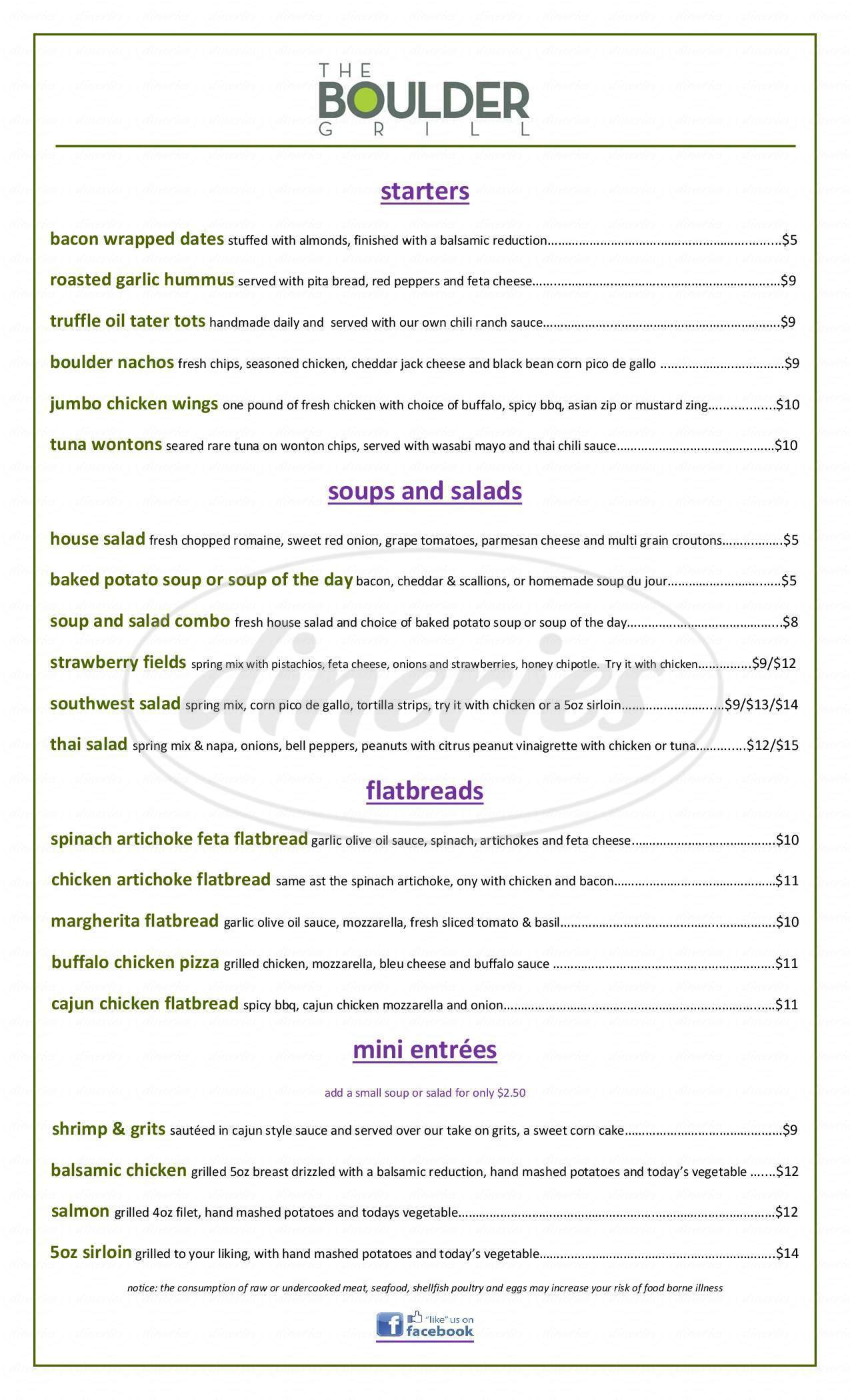 menu for The Boulder Grill