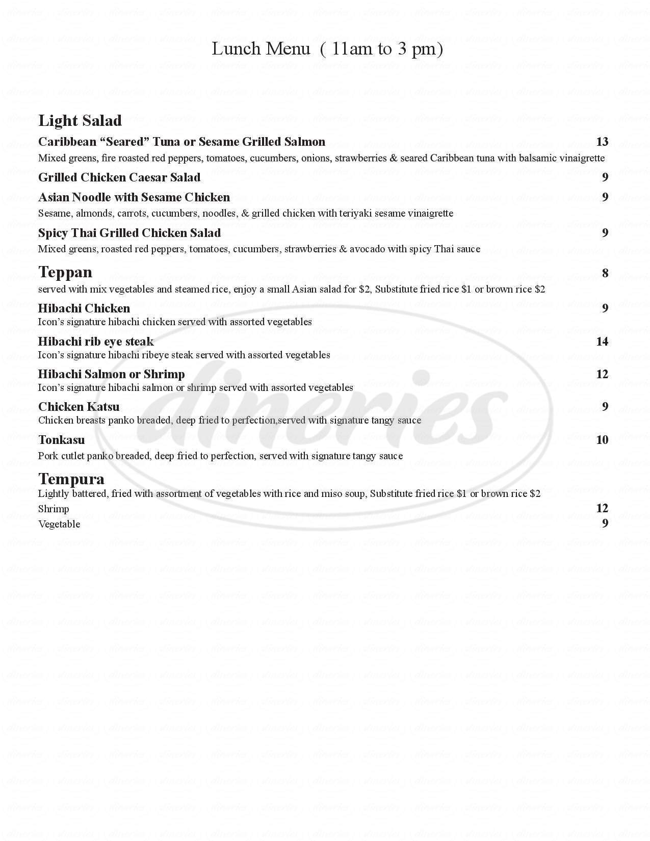 menu for Cafe Icon Sushi and Grill