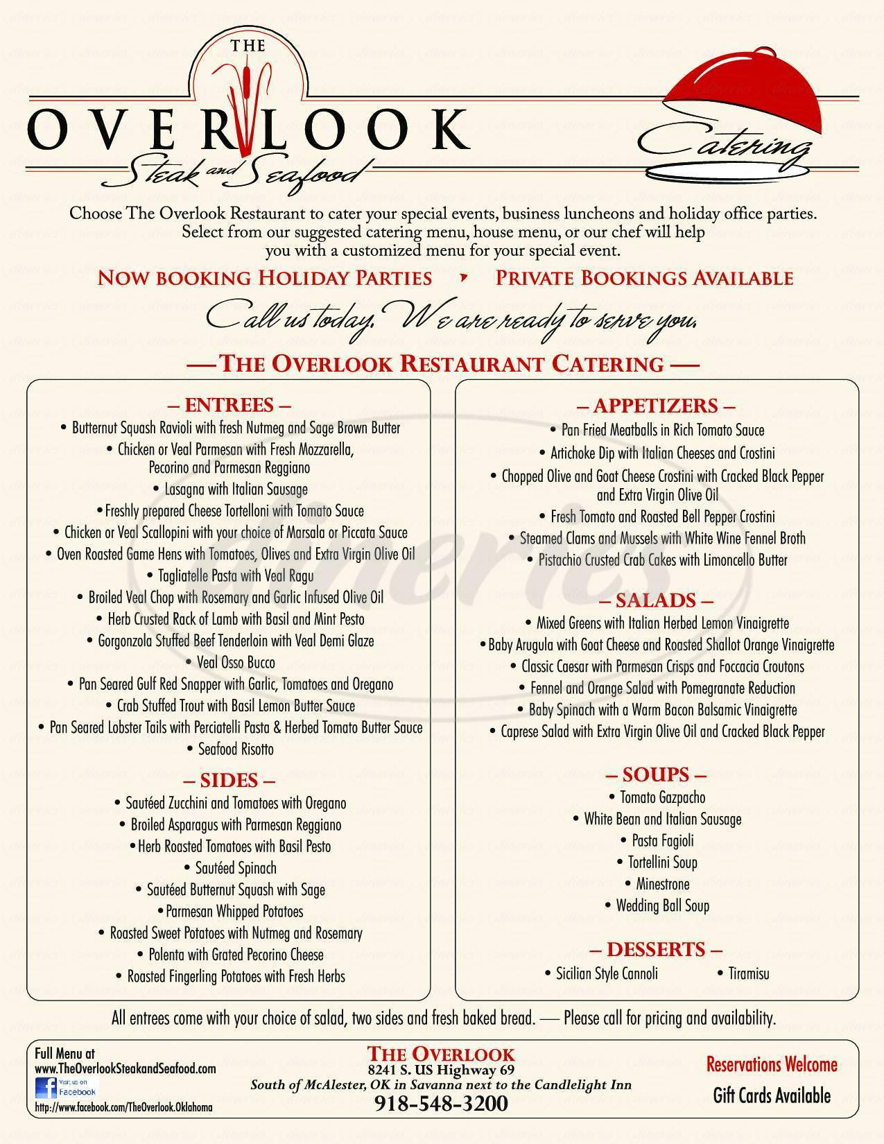 menu for The Overlook Steak And Seafood