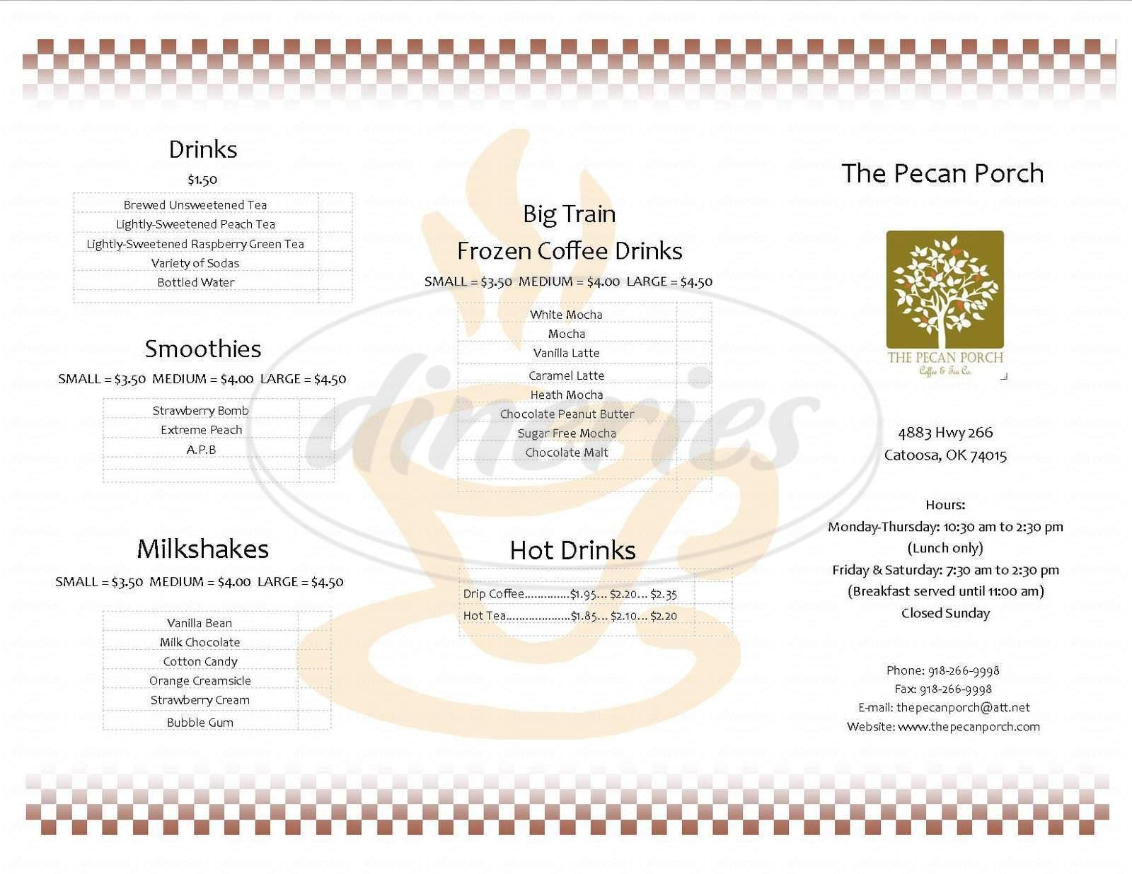 menu for The Pecan Porch