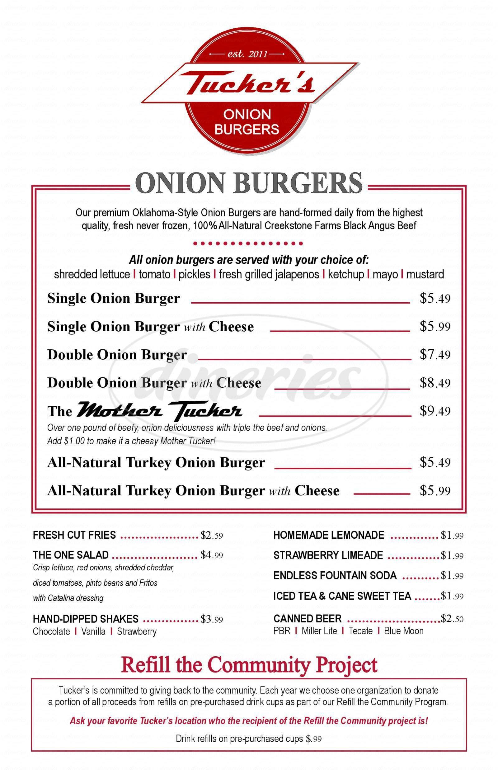 menu for Tucker's Onion Burgers