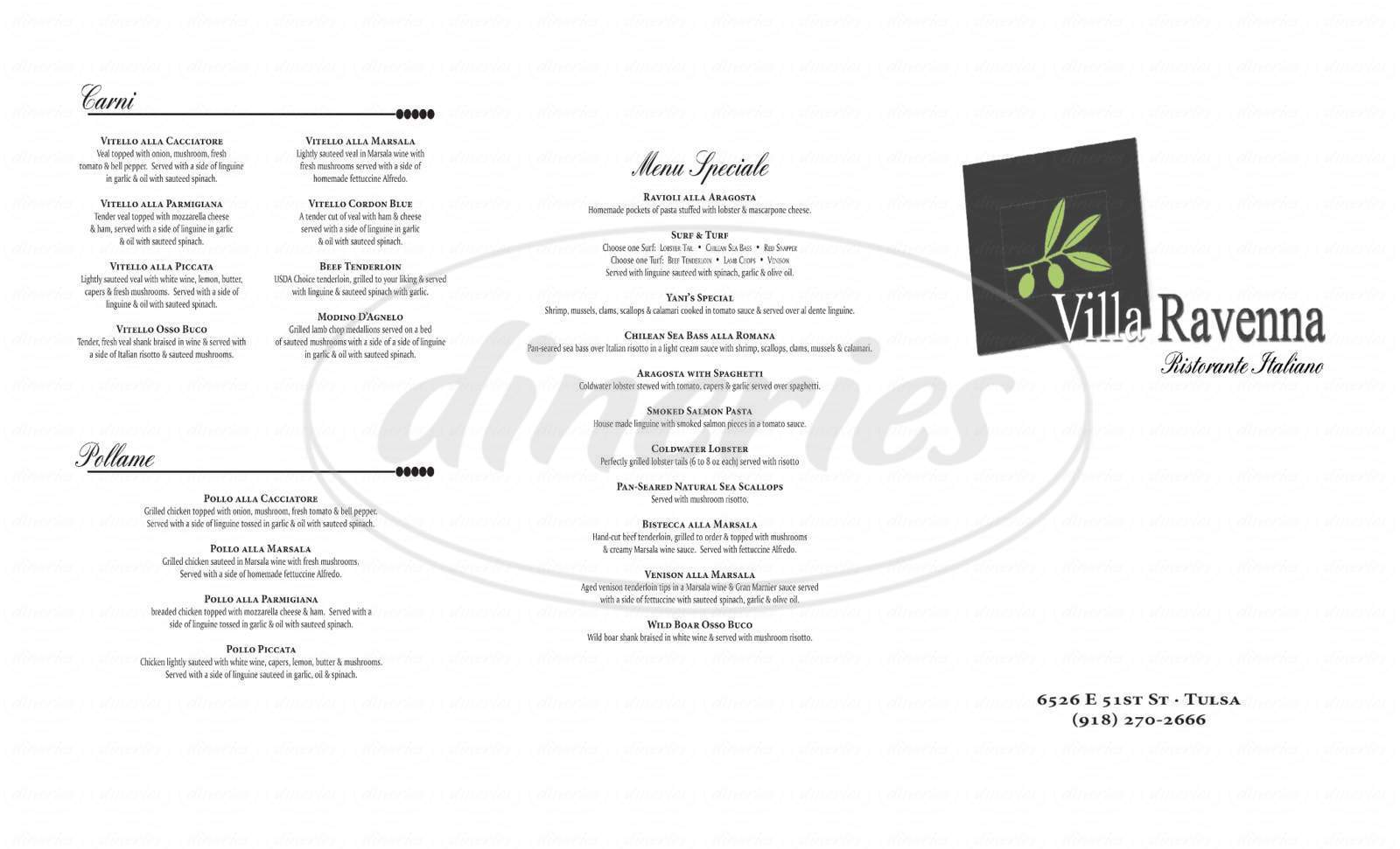 menu for Villa Ravenna