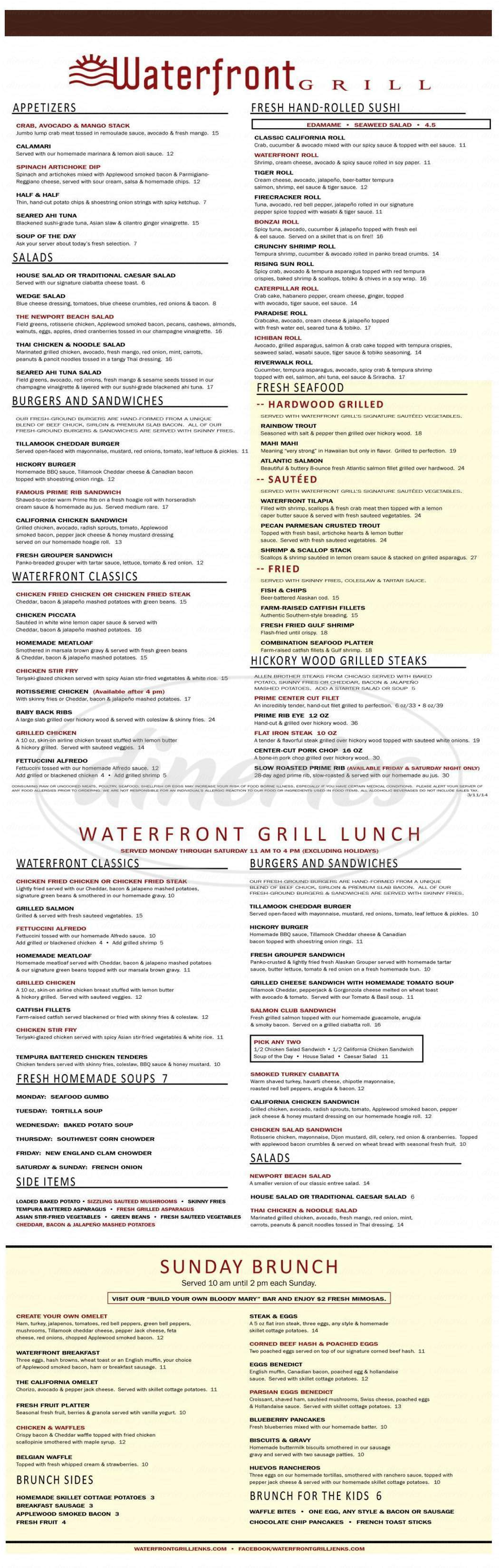 menu for Waterfront Grill