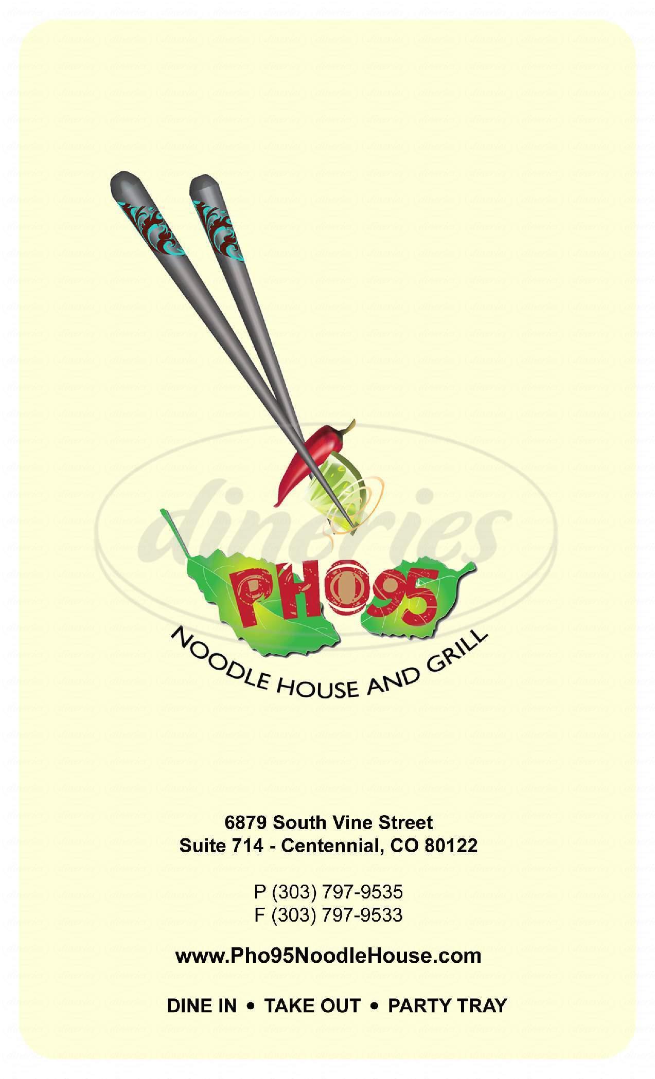 menu for Pho 95