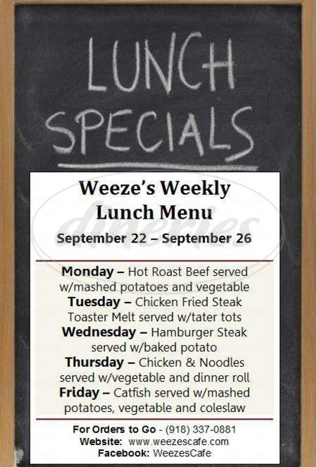 menu for Weeze's Cafe