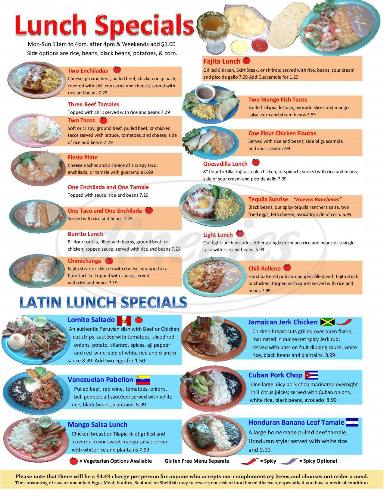 menu for Zarate's Latin &  Mexican Grill