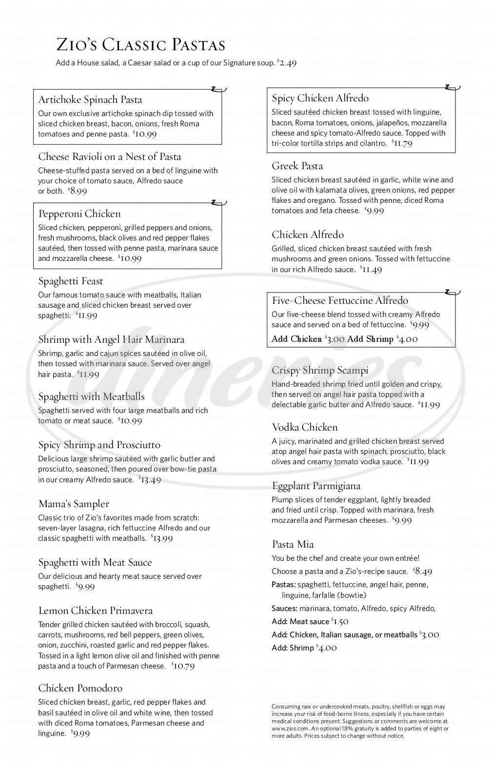 menu for Zio's Italian Kitchen