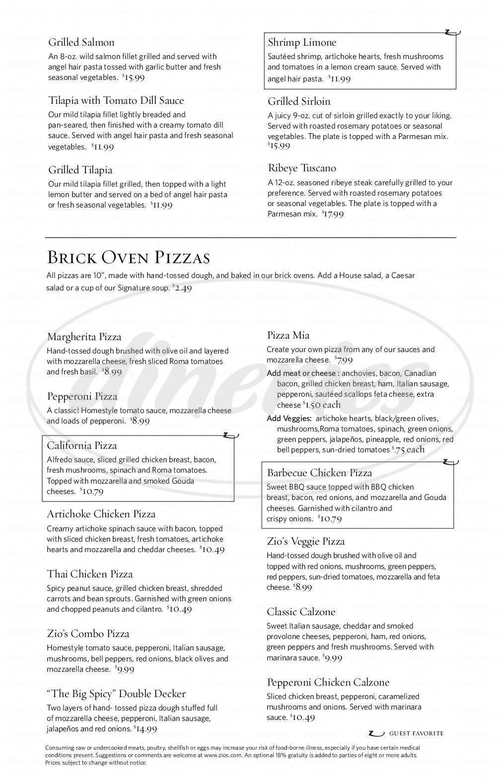 Zio\'s Italian Kitchen Menu - Tulsa - Dineries
