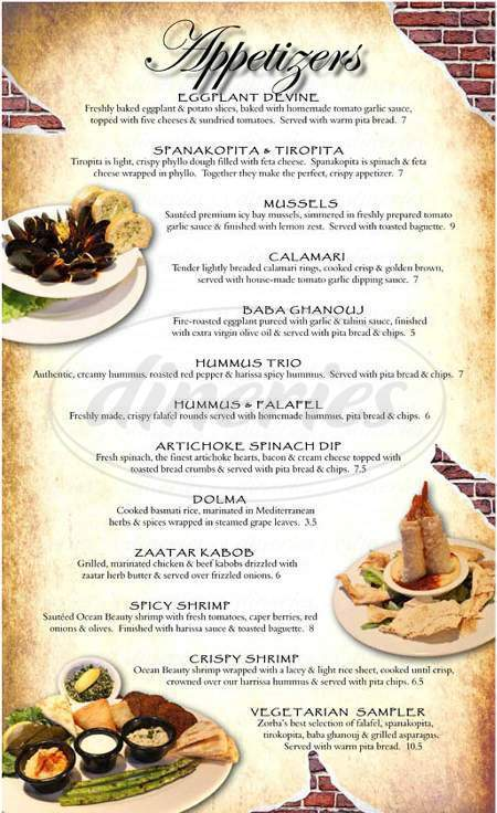 menu for Zorba's Mediterranean Cuisine