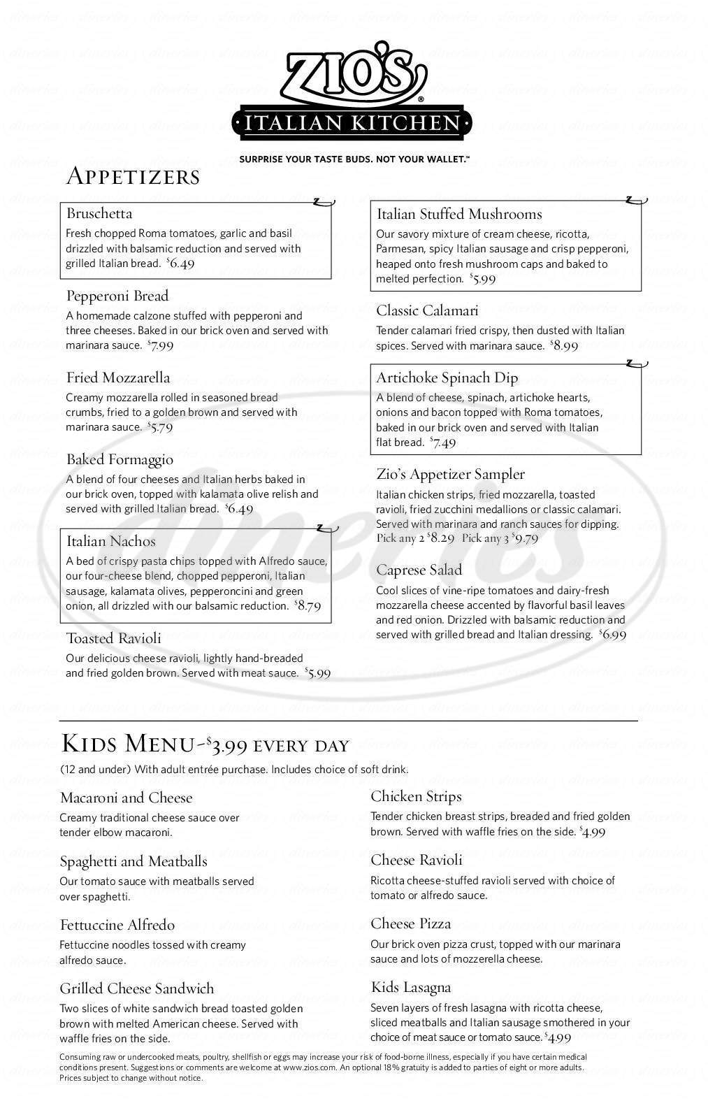 menu for zios italian kitchen - Zios Italian Kitchen