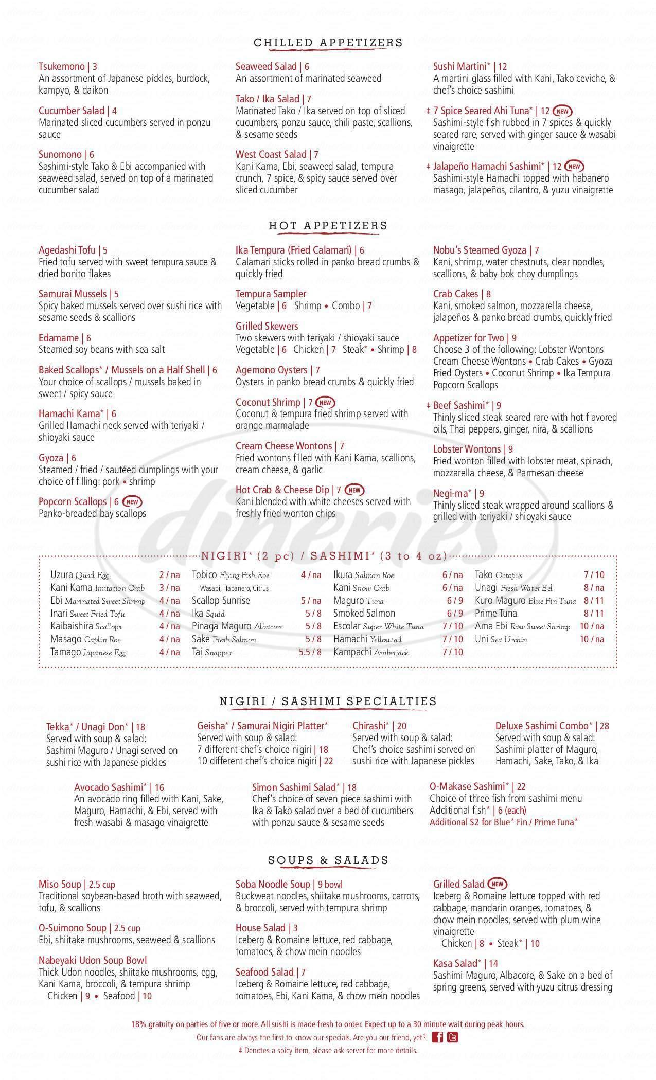 menu for Fuji
