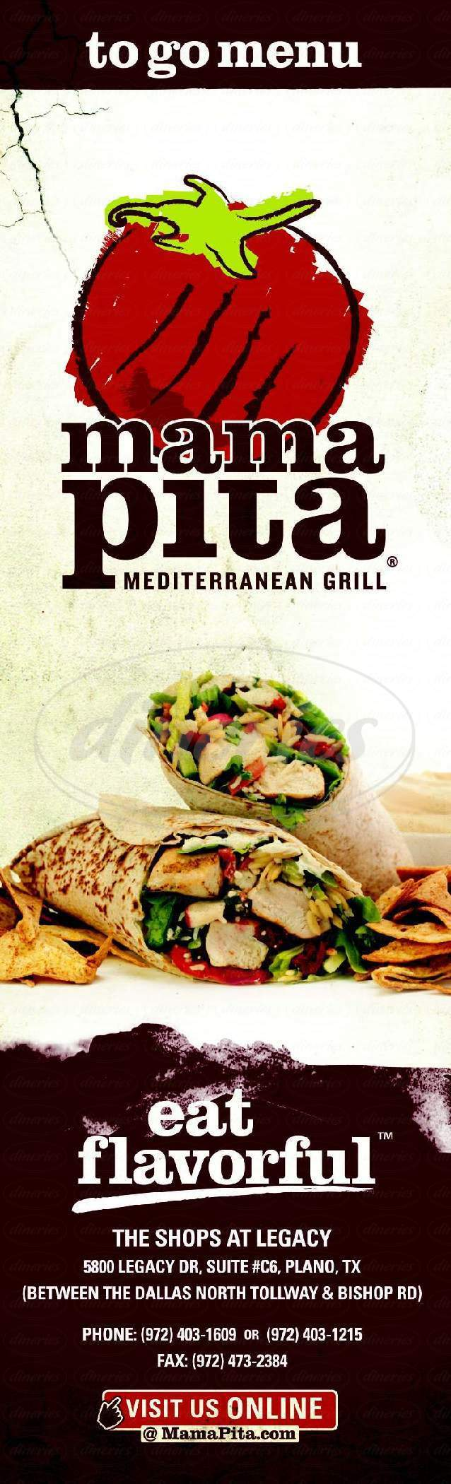 menu for Mama Pita Mediterranean Grill