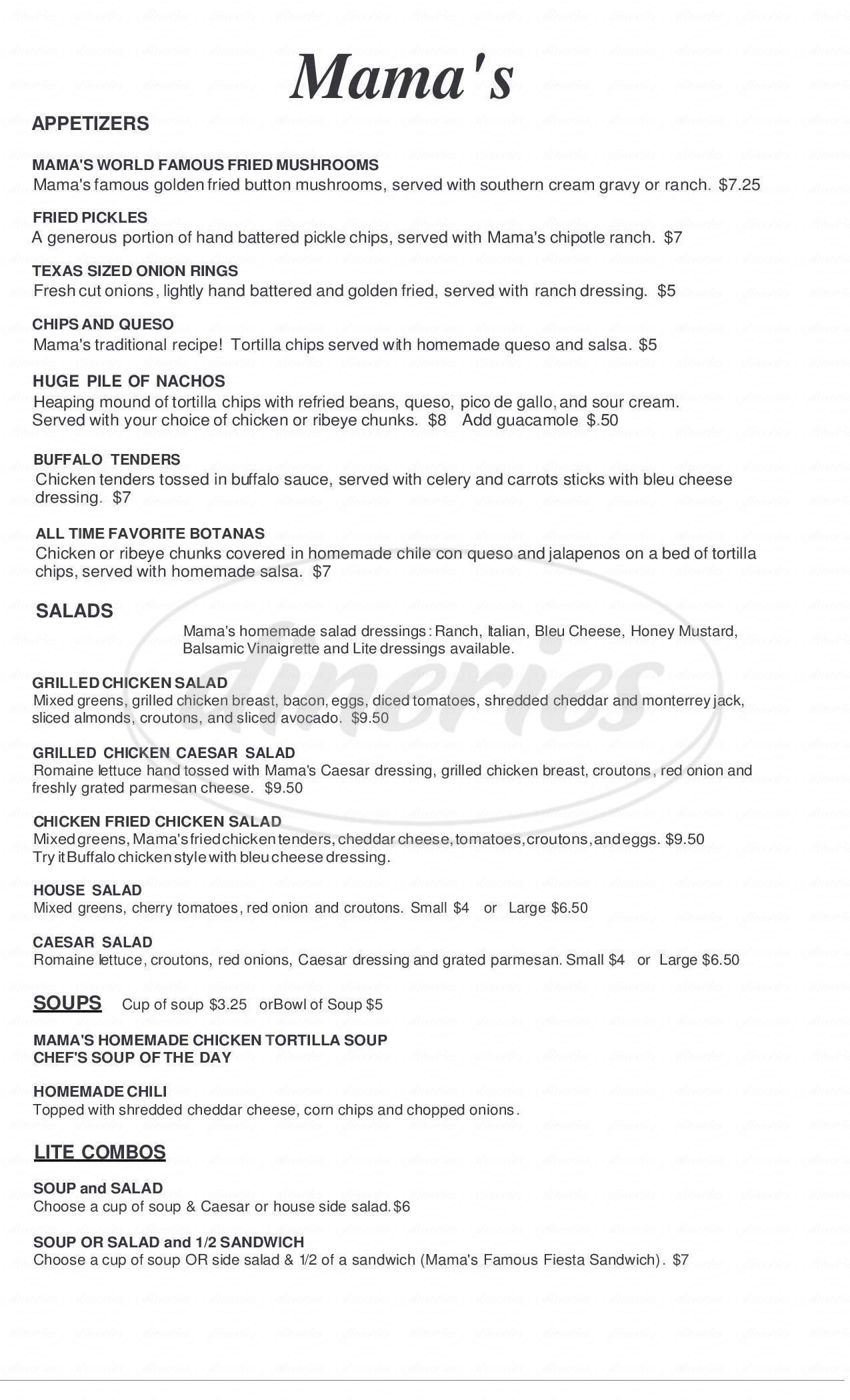 menu for Mama's