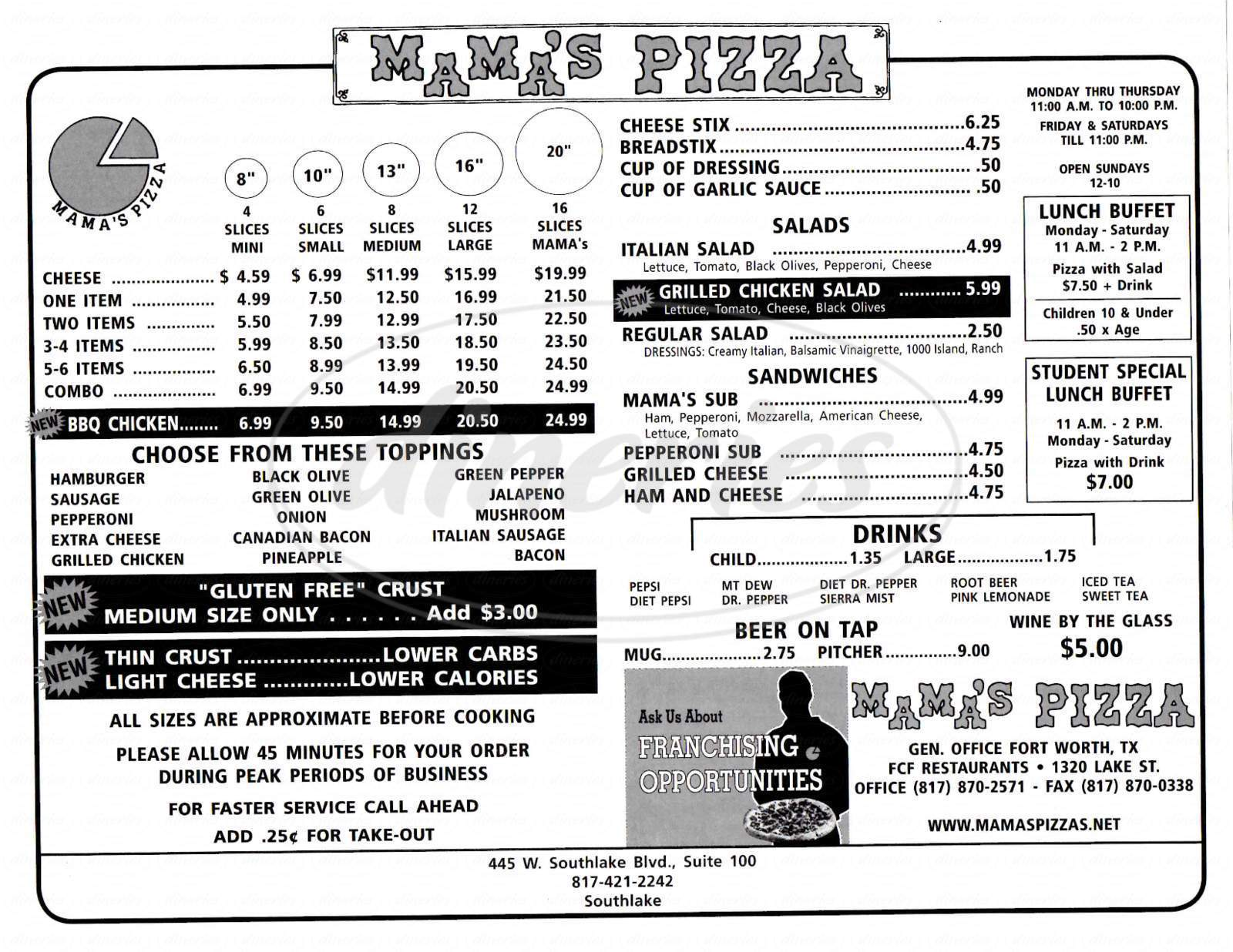 menu for Mama's Pizza