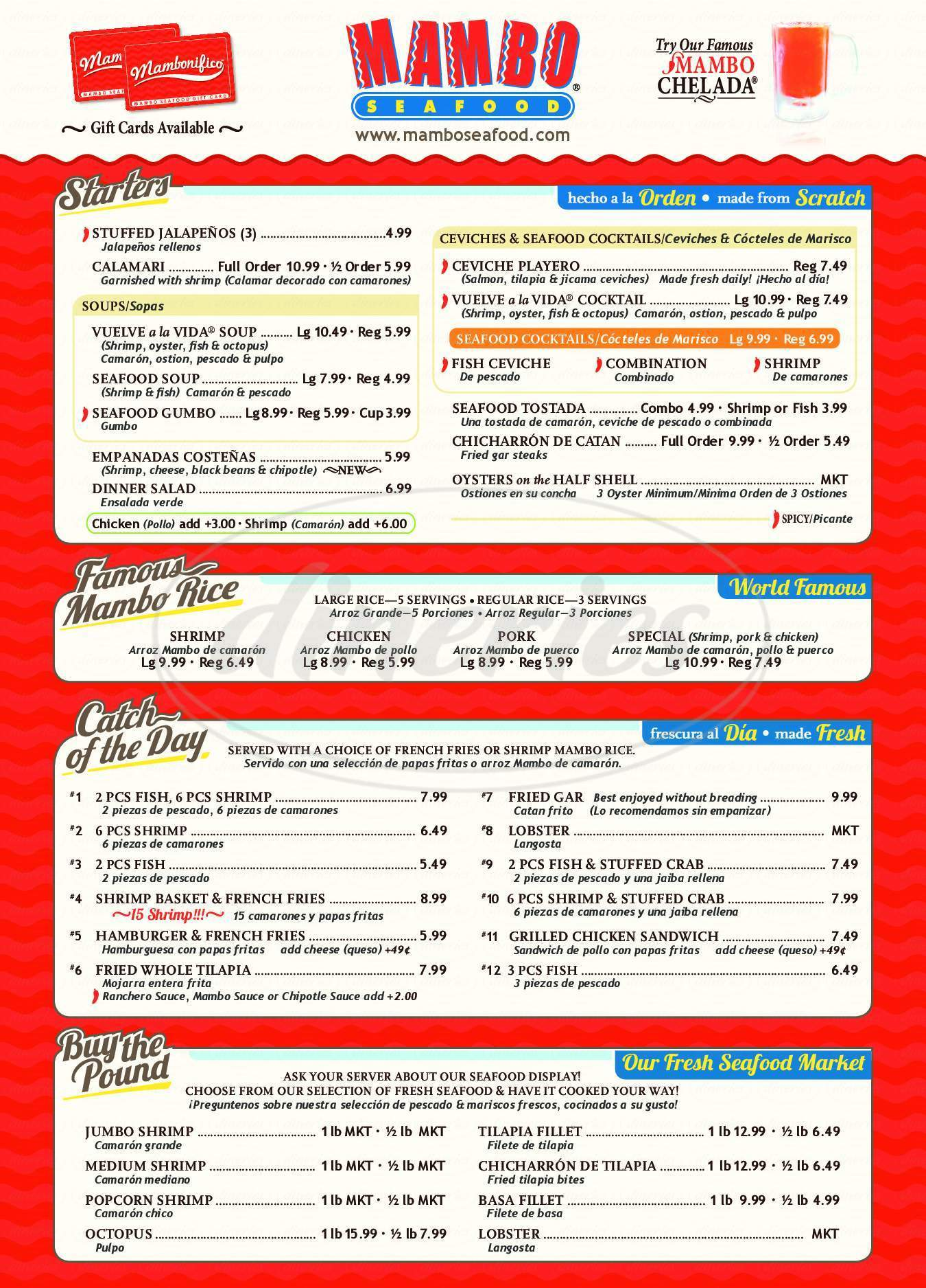 menu for Mambo Seafood