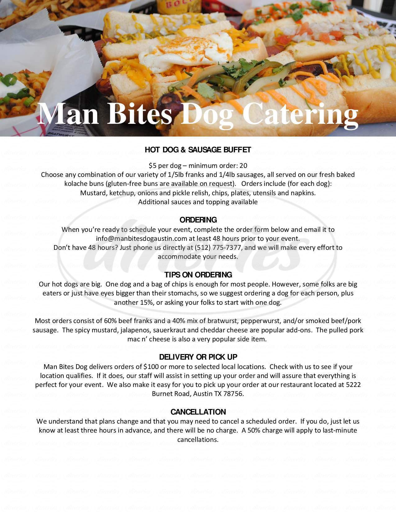 menu for Man Bites Dog
