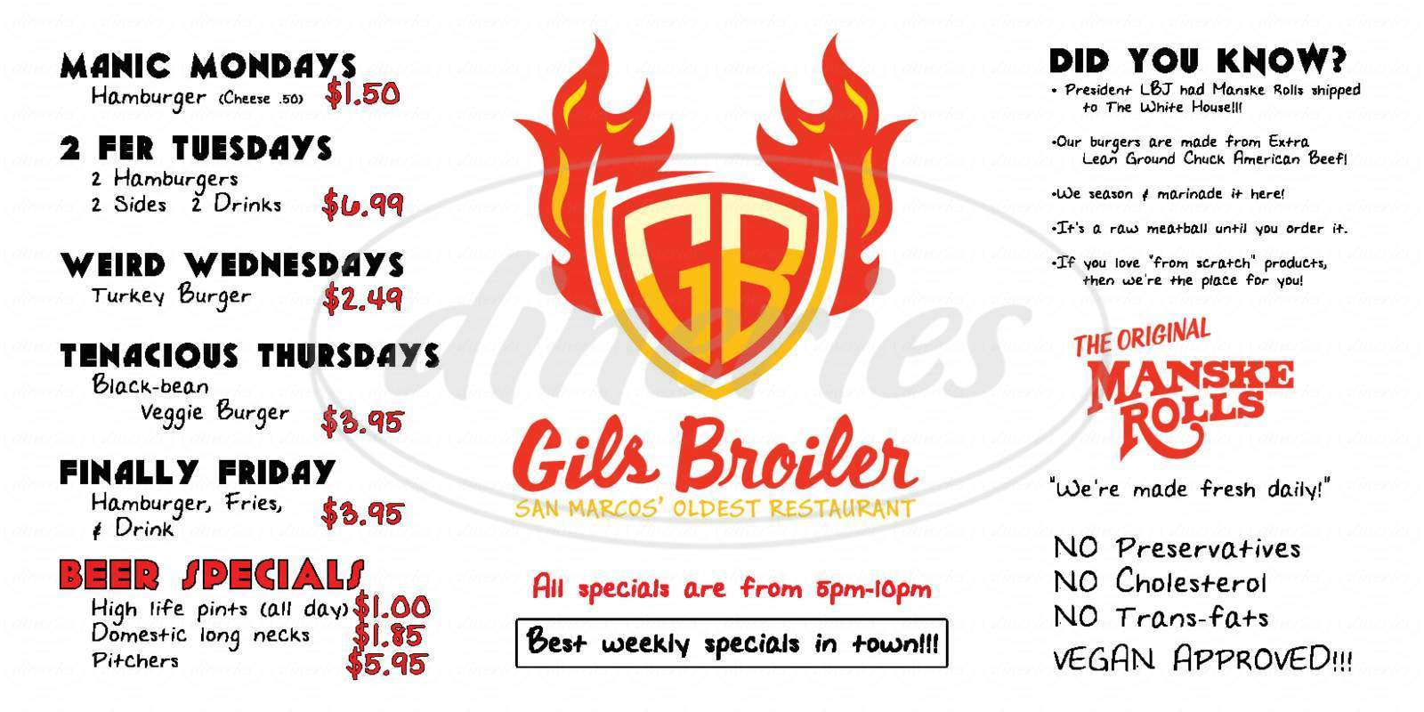 Big menu for Gil's Broiler & Manske Roll Bakery, San Marcos
