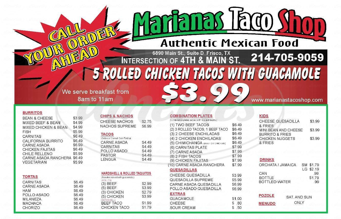 menu for Mariana's Taco Shop