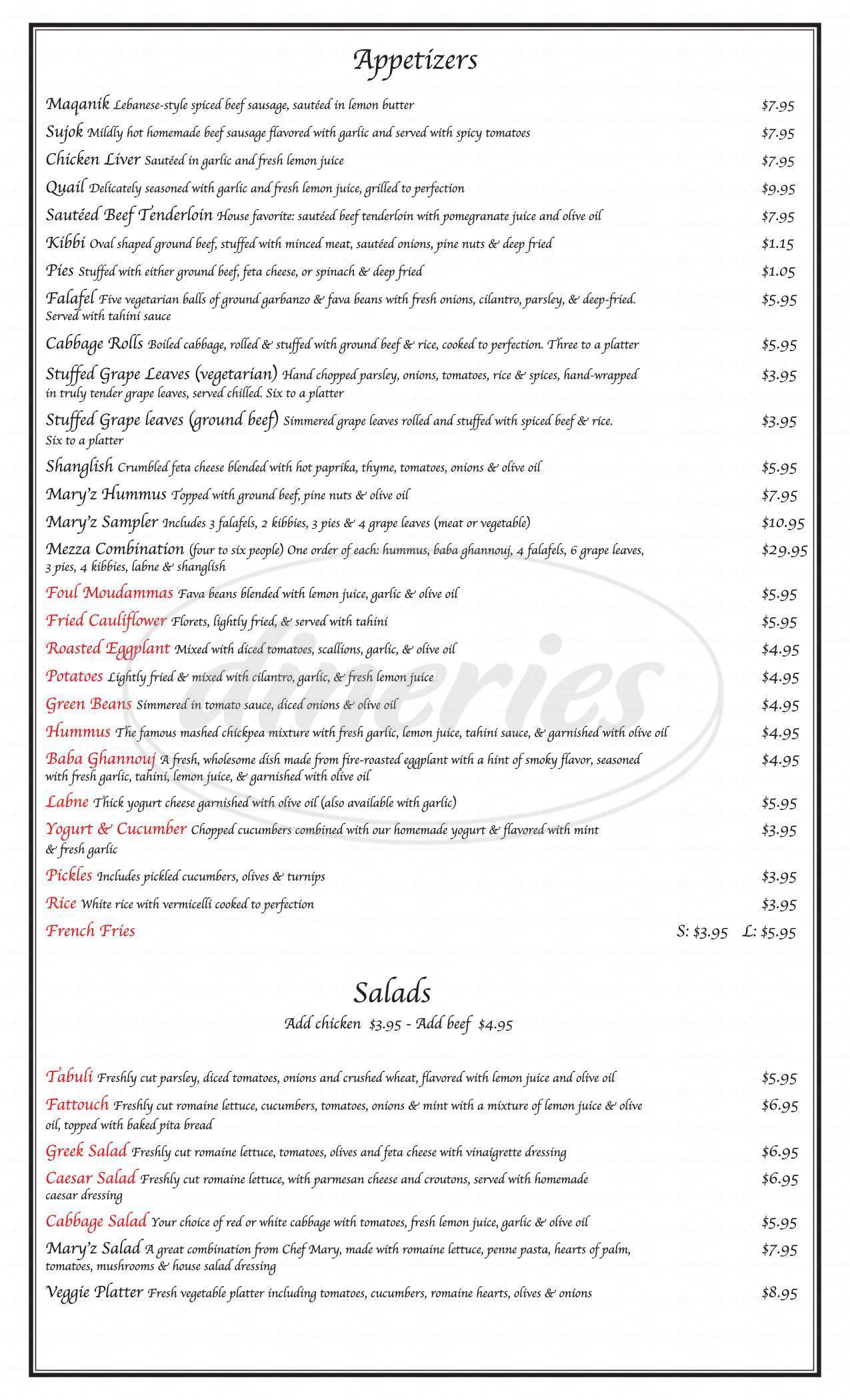 menu for Mary'z Lebanese Cuisine