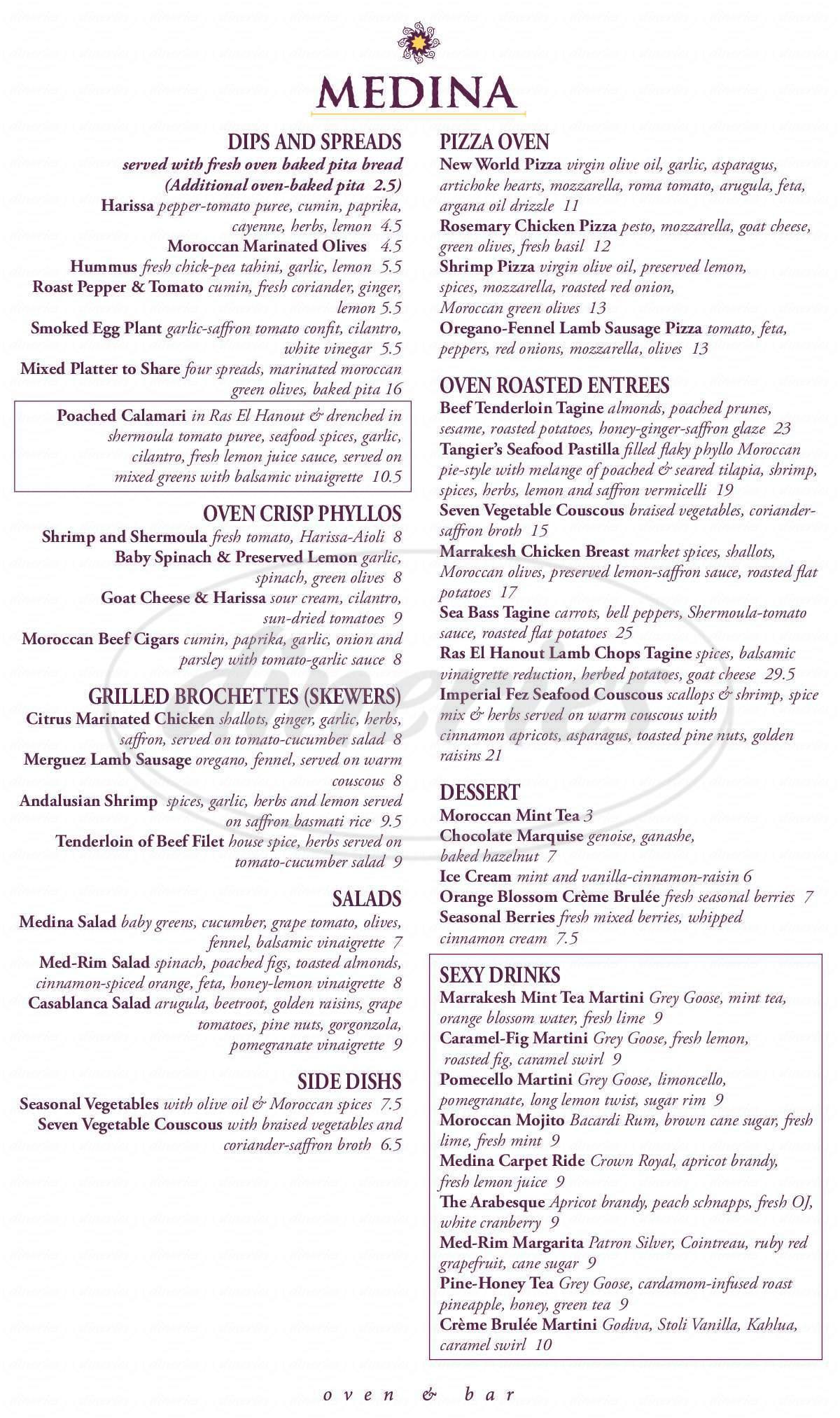 menu for Medina Oven & Bar