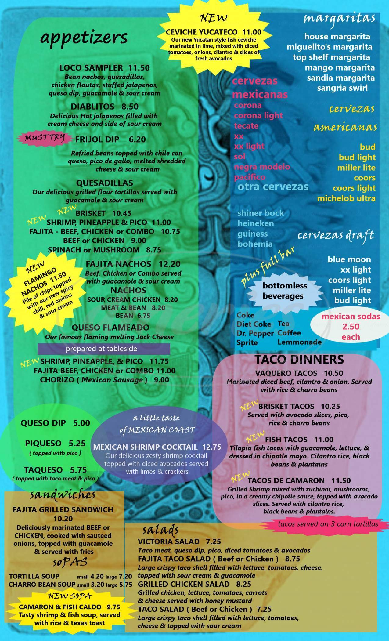 menu for Miguelito's Mexican Restaurant