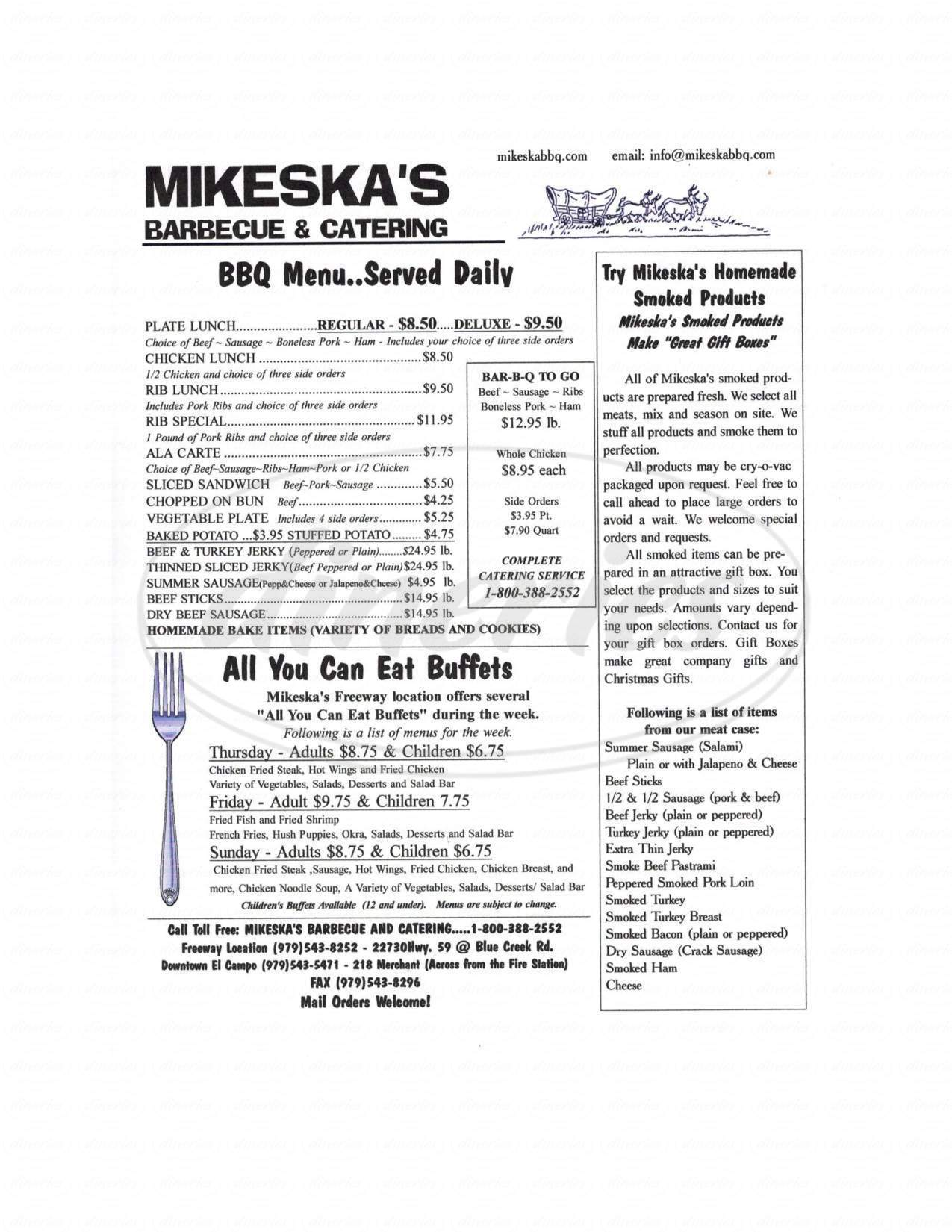 menu for Mikeska's BBQ and Catering